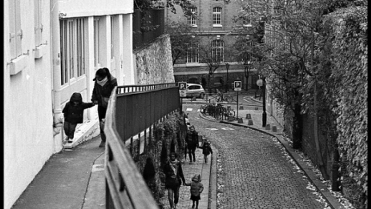 Families coming home after school in Montmartre, Paris