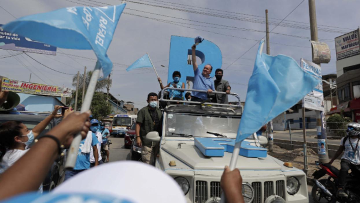 Far-right candidate Rafael Lopez-Aliaga  in Lima, Peru, on March 20