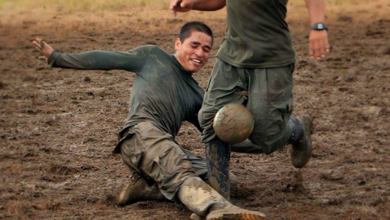 FARC guerrillas playing soccer in El Diamante, Colombia