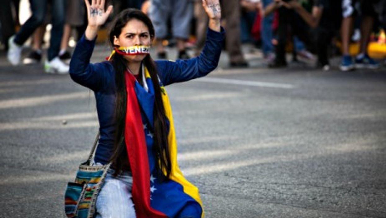 Feb. 16, 2014 protest in Venezuela's capital Caracas