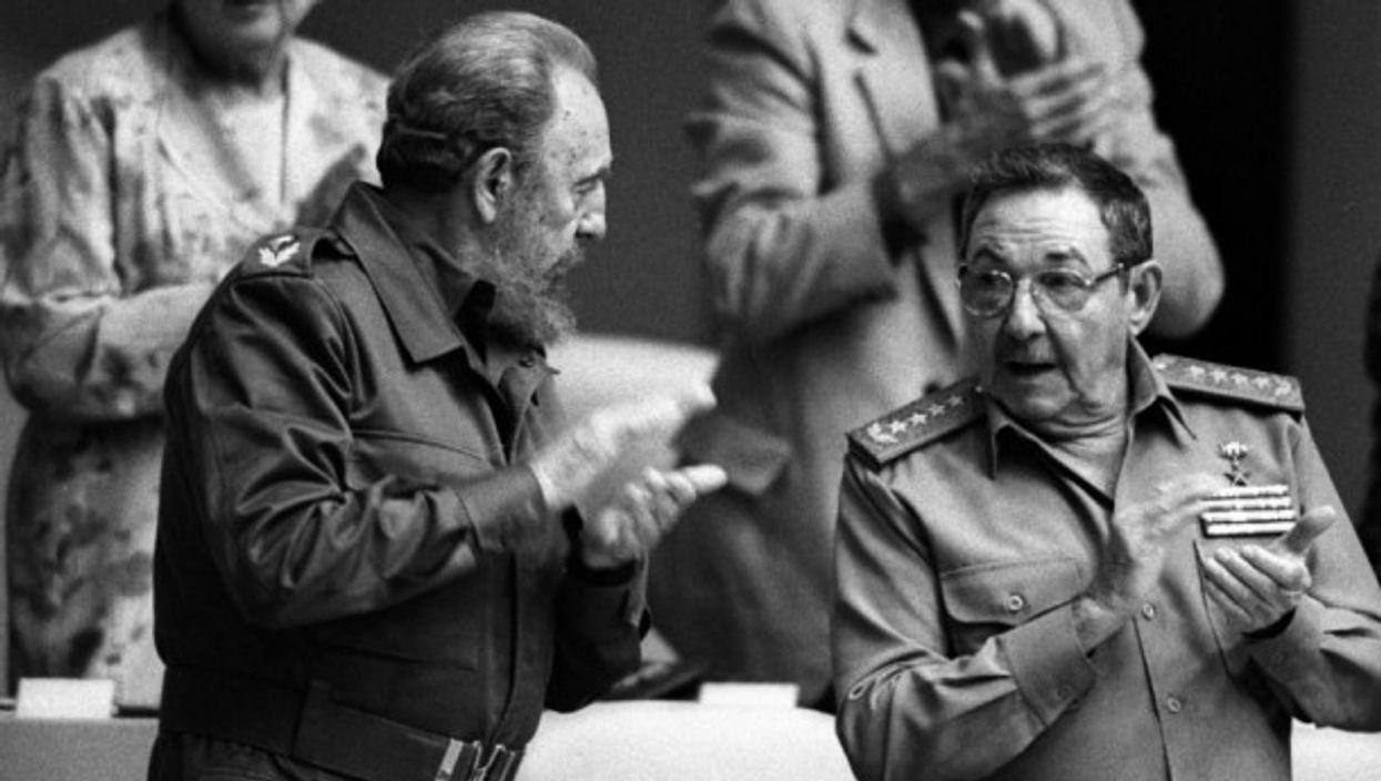 Fidel and Raul Castro, 2001