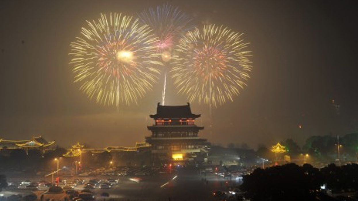 Fireworks celebrate the Chinese Lunar New Year in the capital of central China's Hunan Province.