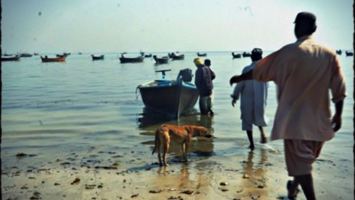 Fishermen in Abdul Rehman goth near Karachi