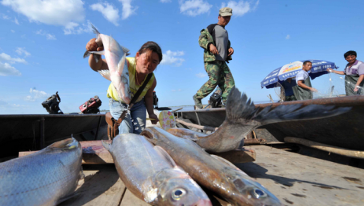 Fishing on the Chinese side of the Heixiazi Island, a border island that links China and Russia.
