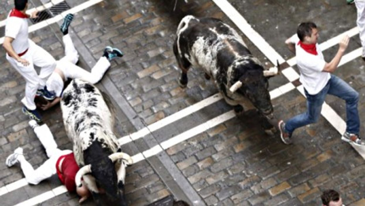 Five runners were injured on the first day of Spain's San Fiermo festival