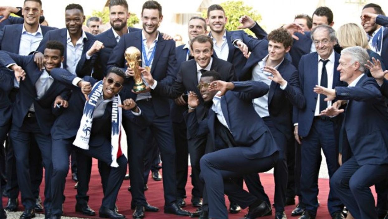 France's soccer team with President Macron on July 16
