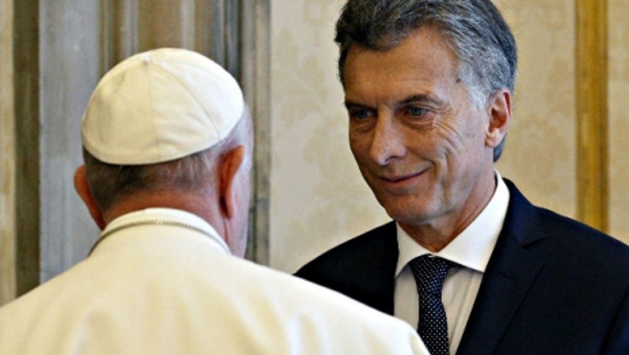 Francis and Macri - a bit tense at Saturday's encounter at the Vatican