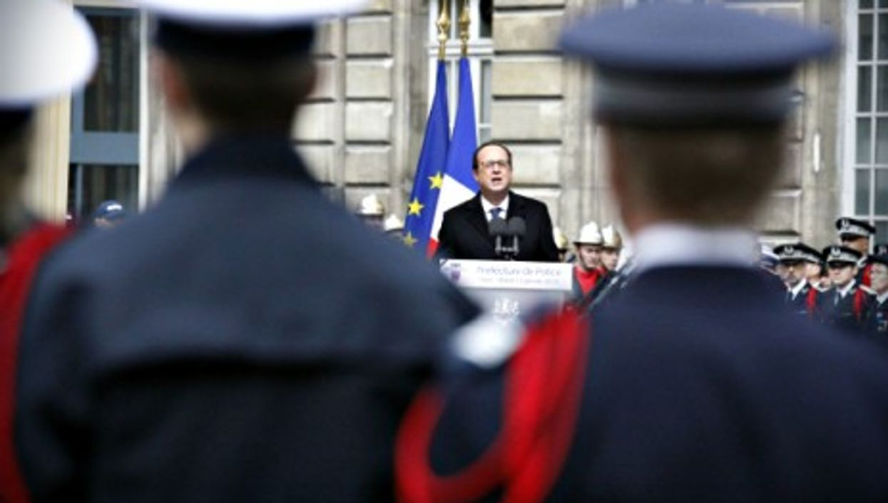 Francois Hollande during a Jan. 13 ceremony paying tribute to victims of the Charlie Hebdo attack.