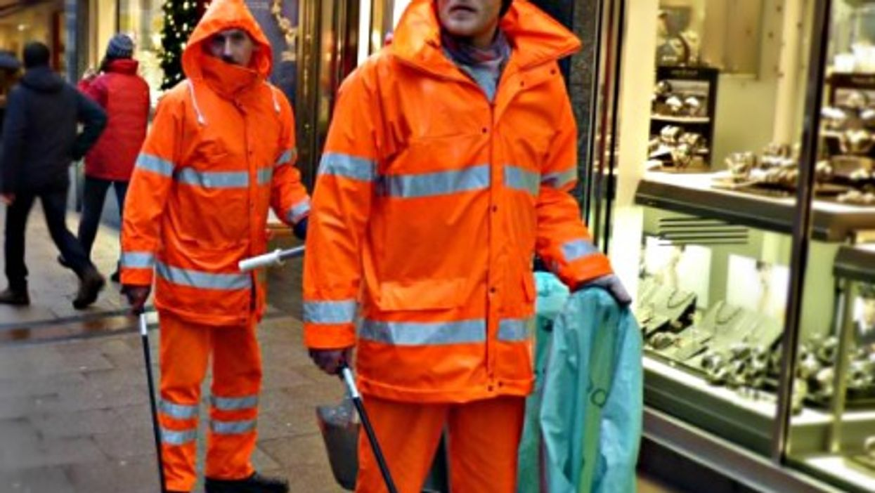 Frank (left) and Mike cleaning up the streets of Essen
