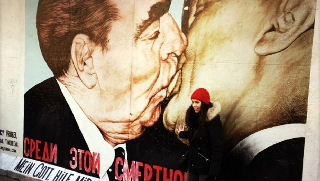 'Fraternal Kiss' graffiti on the Berlin Wall