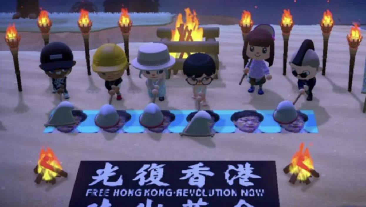 Free Hong Kong protest inAnimal Crossing