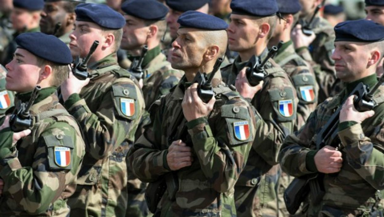 French defense forces at the NATO battalion battle group ceremony last year in Estonia