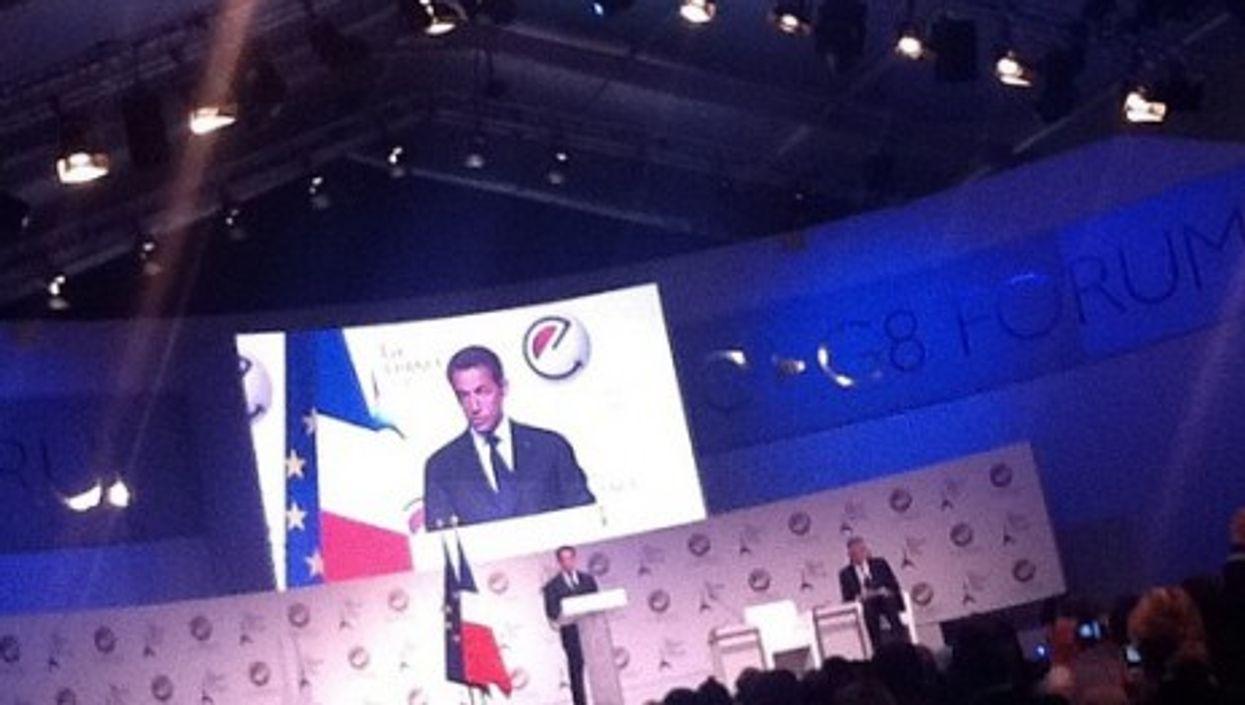 French President Nicolas Sarkozy addresses the E-G8 summit in Paris (jenny8lee)