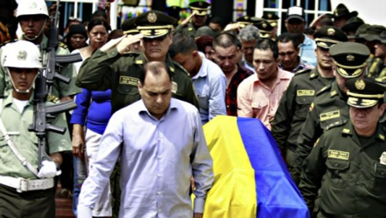 Funeral in Barranquilla of a policeman killed by FARC members in September