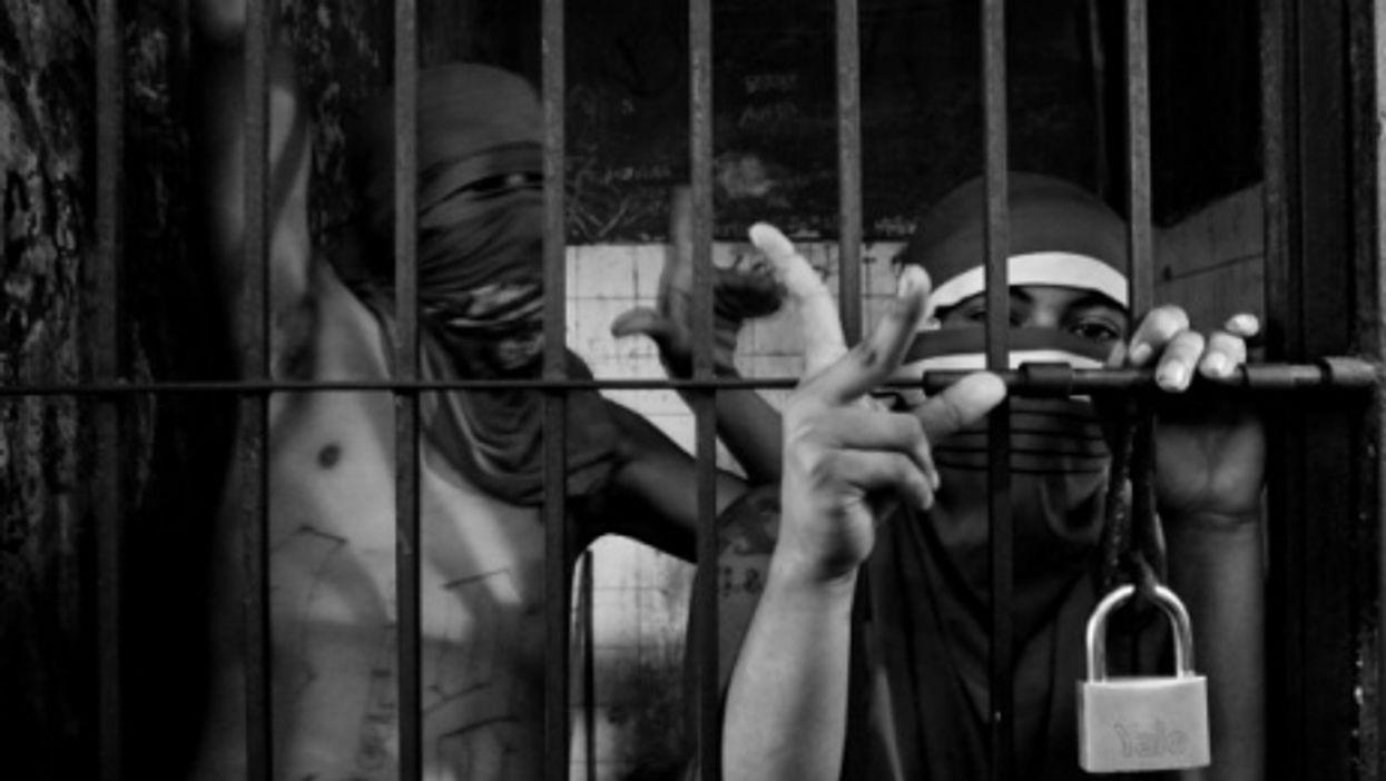 Gang memebers in a San Salvador jail