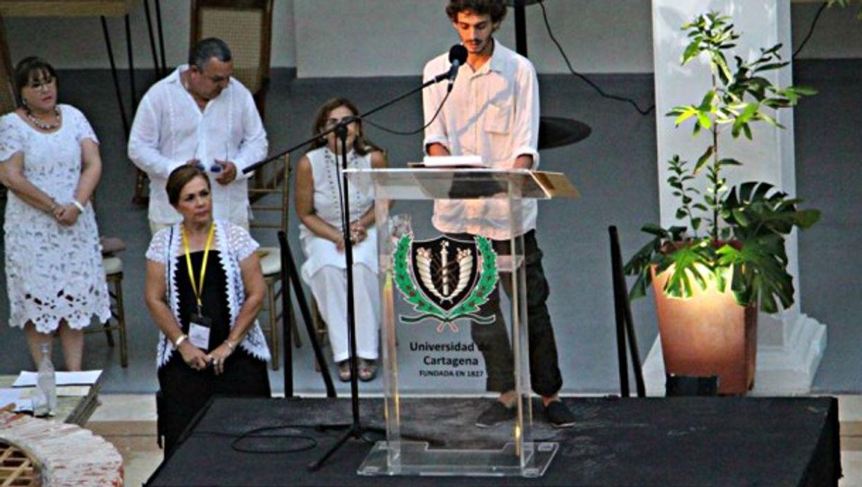 García Elizondo speaks at the University of Cartagena in 2016
