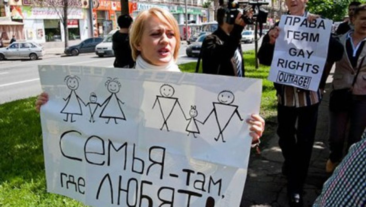 Gay Pride in Moscow. The sign reads