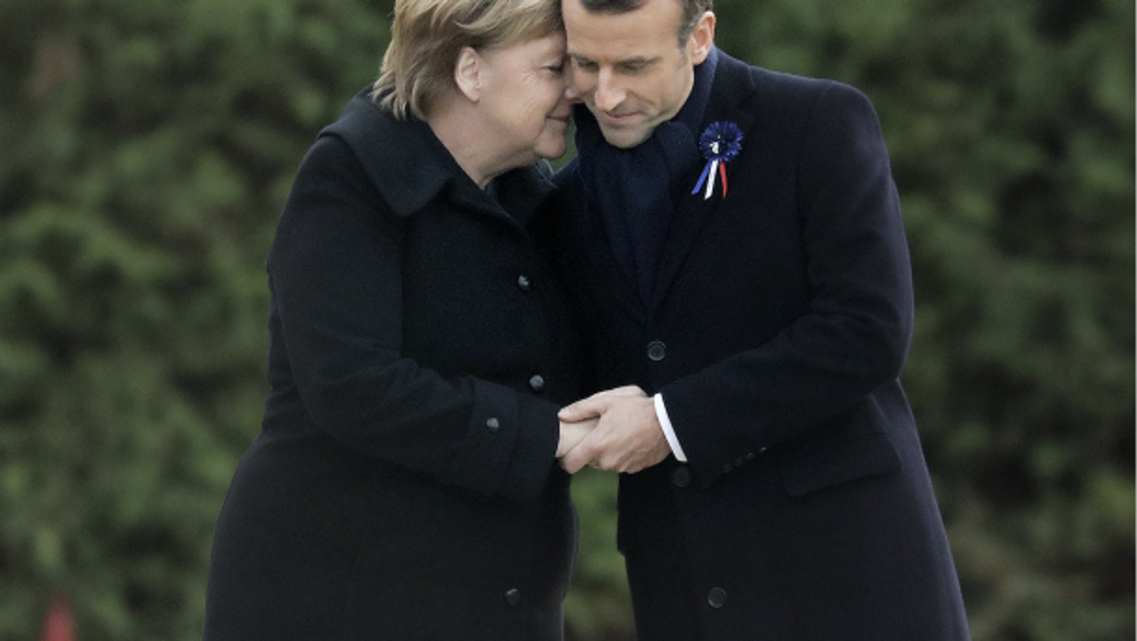 German Chancellor Angela Merkel and French President Emmanuel Macron at the Armistice Centenary ceremony in Paris on November 11, 2018