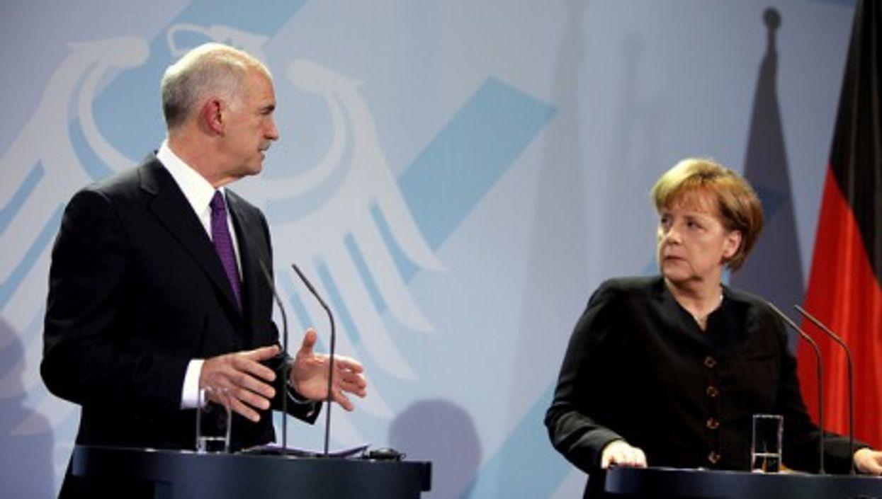 Greek Prime Minister Papandreou and German Chancellor Merkel