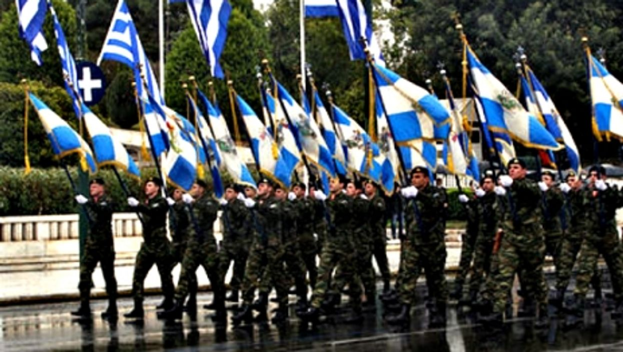 Greek soldiers marching in Athens