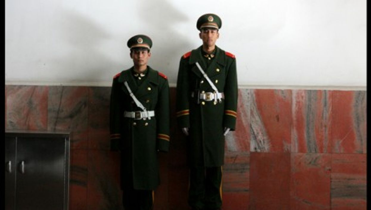 Guards in an underground passage between Tiananmen Square and the Forbidden City