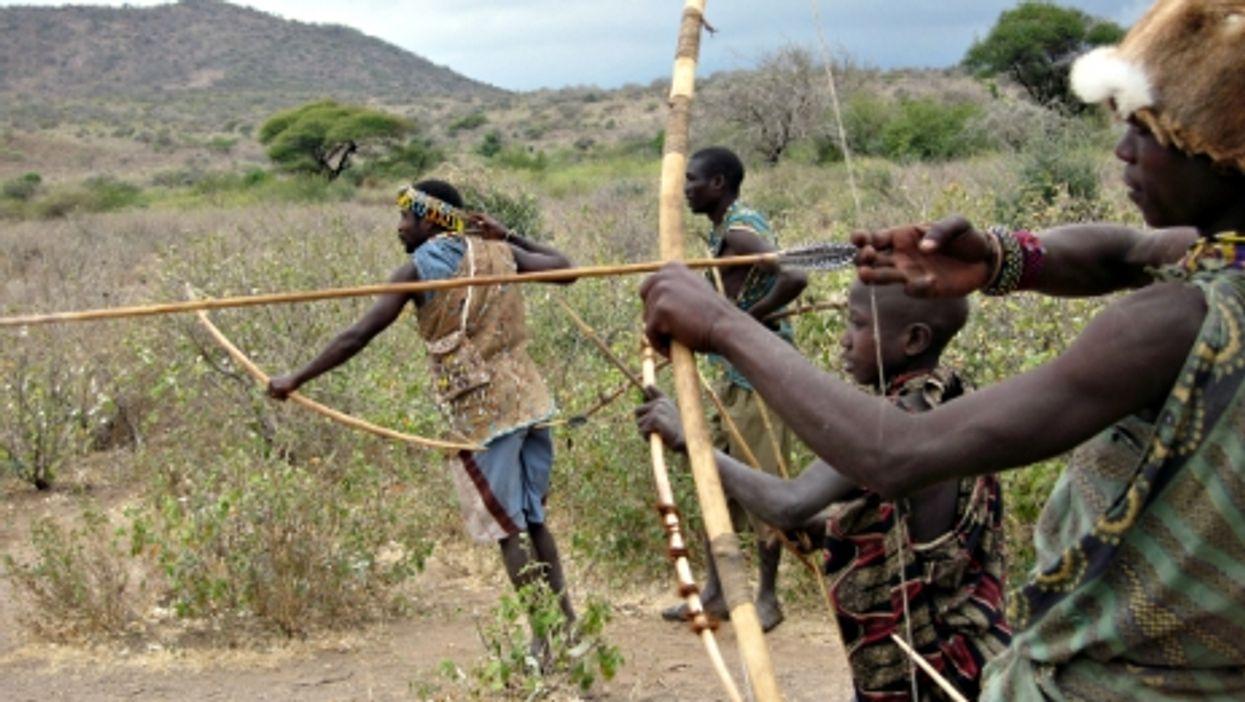 Hadza tribesmen hunting in Tanzania