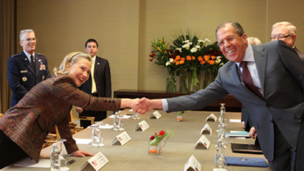Happier times? U.S. Secretary of State Clinton with Russian Foreign Minister Sergey Lavrov in February.