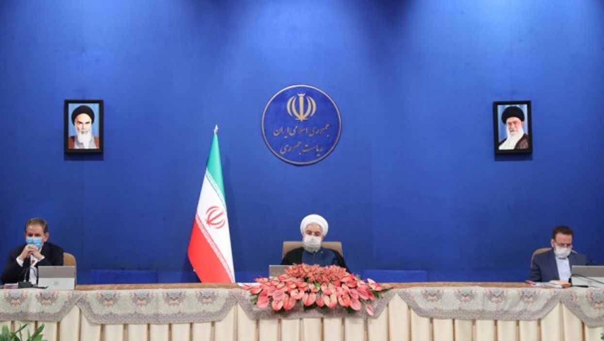 Hassan Rouhani speaking during a cabinet session in Tehran