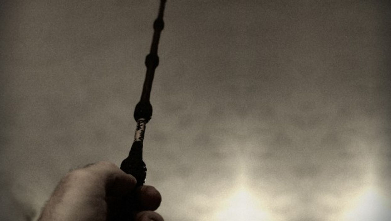 'He clutches a magic wand as if it's his only hope.'