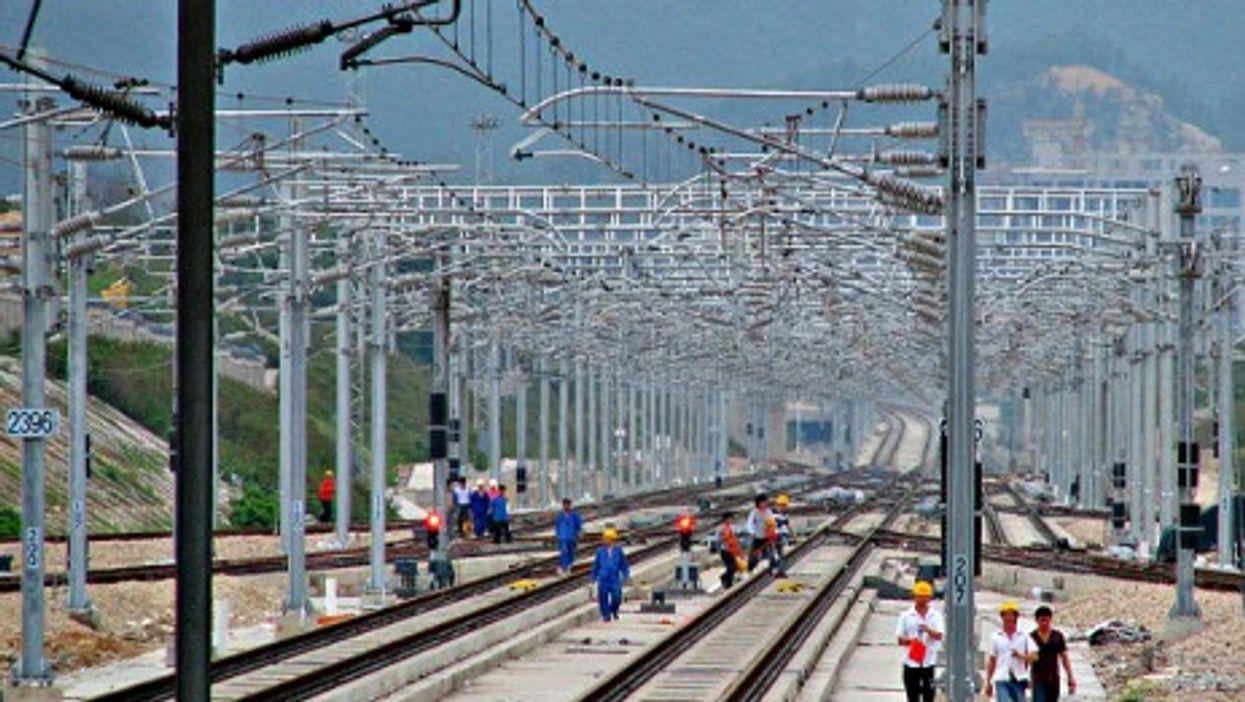 High-speed railway in construction in Shenzhen, China.
