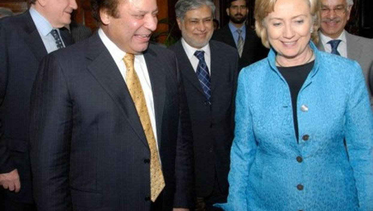 Hillary Clinton and Nawaz Sharif, leader of the opposition in Pakistan