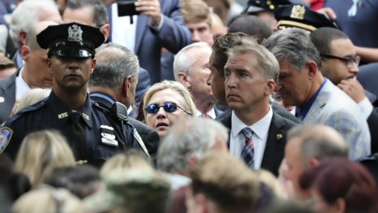 Hillary Clinton arriving at the 9/11 commemoration in NYC