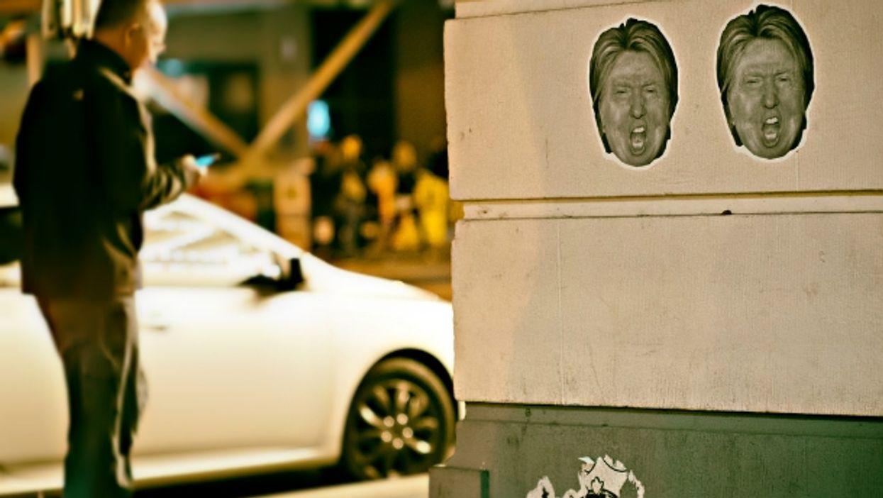 Hillary Trump/Donald Clinton stickers in Washington, D.C.