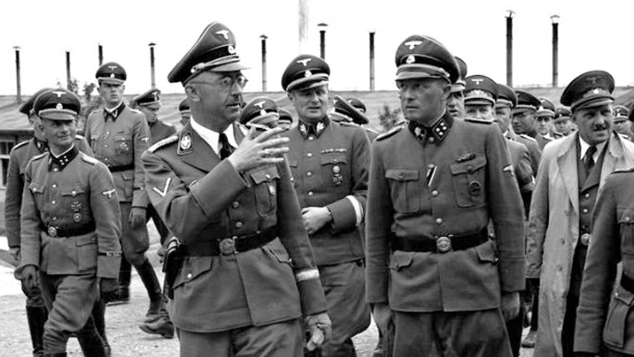 Himmler (center left) visiting the Mauthausen concentration camp in April 1941