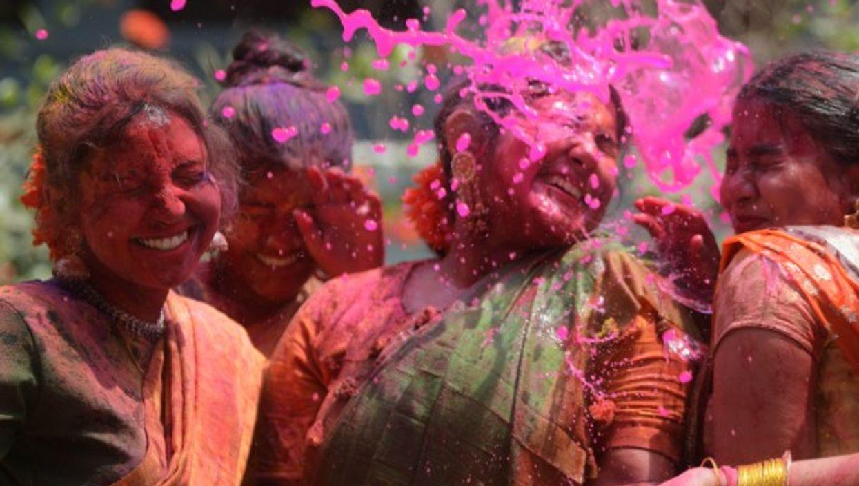 Holi celebrations in Agartala, India.