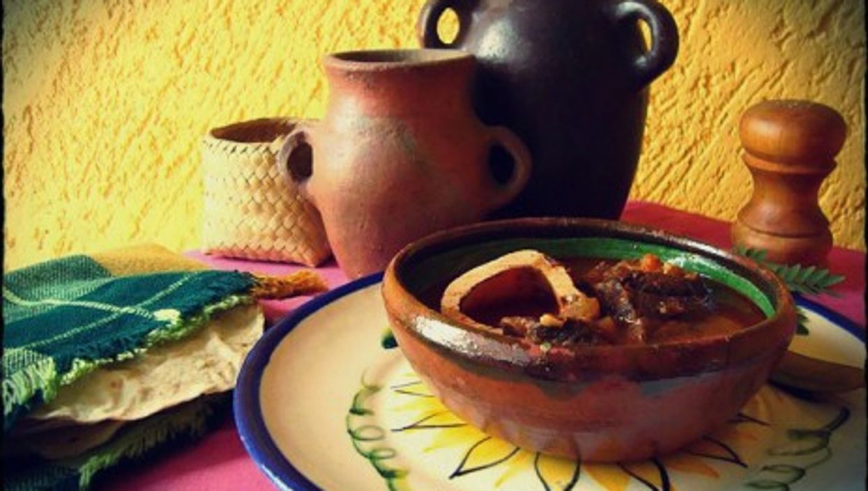 Huaxmole, a traditional dish with beef or pork meat in a thick sauce of chili and guaje beans