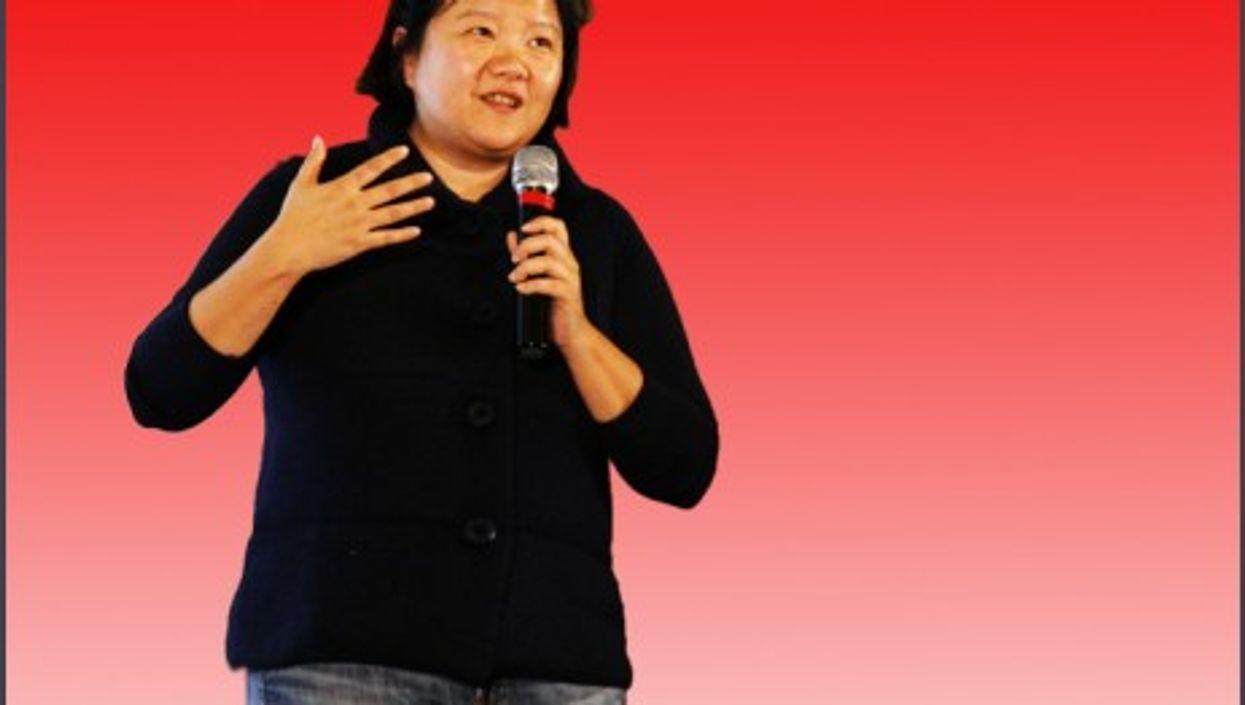 Hung Huang speaking at a TED conference in Beijing
