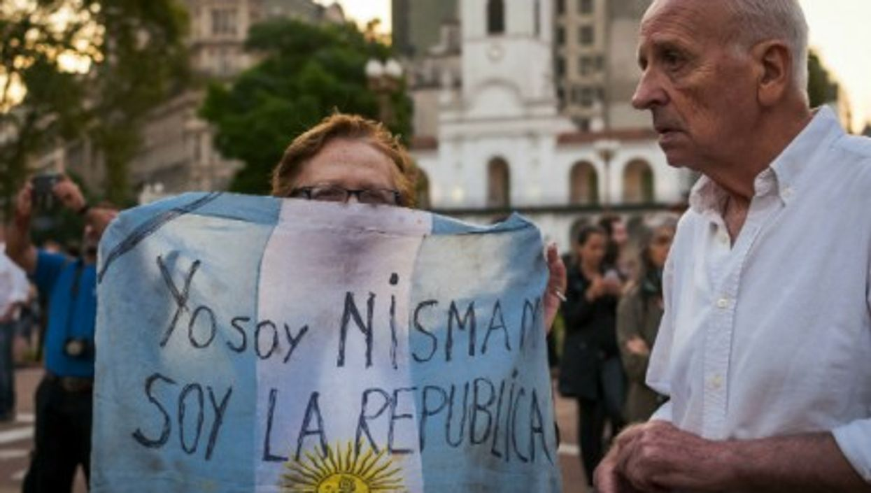 """""""I am Nisman, I am the Republic"""" reads a sign during Jan. 19 protests in Buenos Aires."""