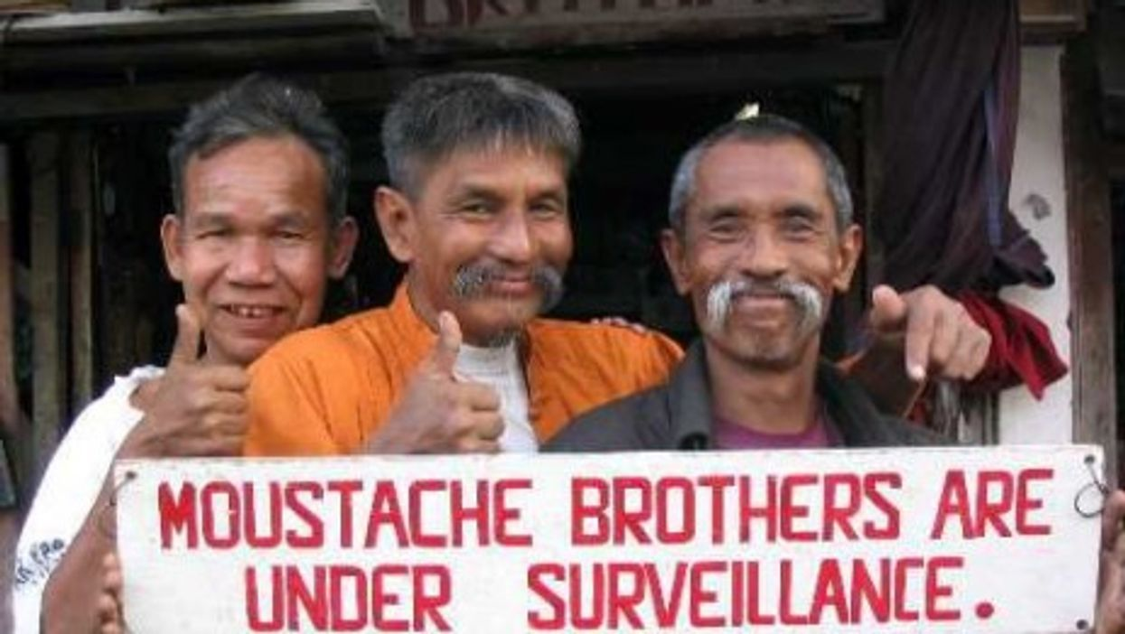 I spot a missing moustache.