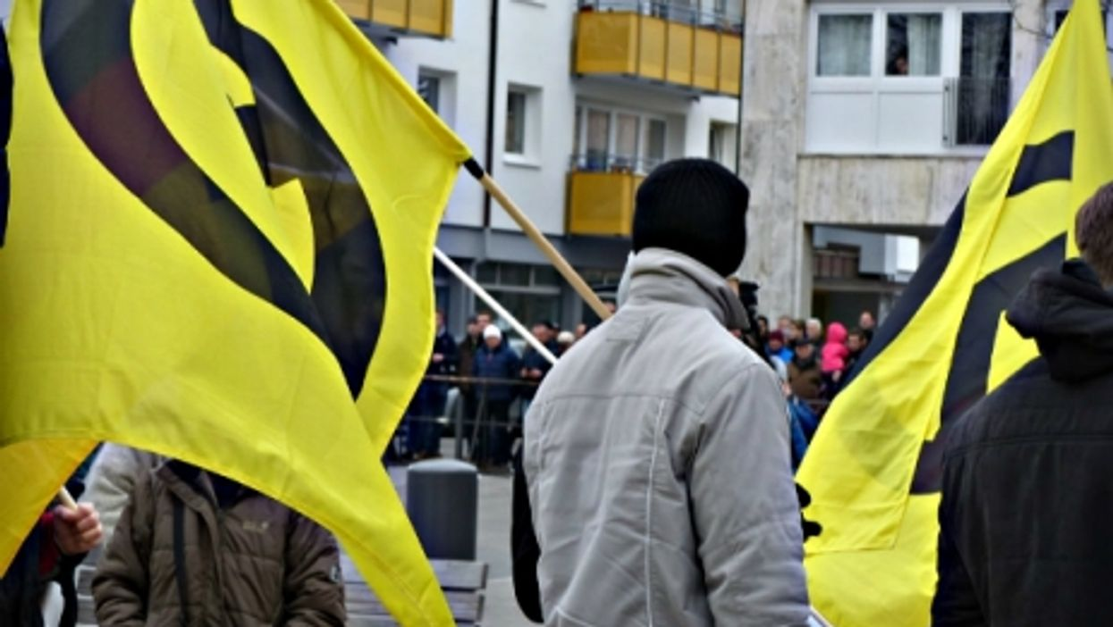 IB protesters in Geretsried, Bavaria, on March 12