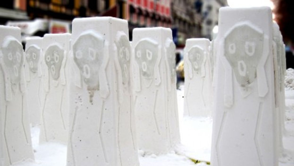 "Ice statues of Munch's ""Scream"" in Oslo's main street"