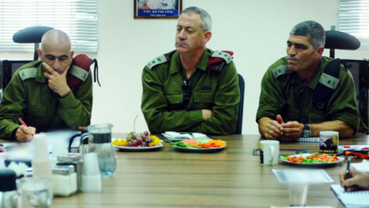 IDF chief of staff Benny Ganz (center) in a file photo