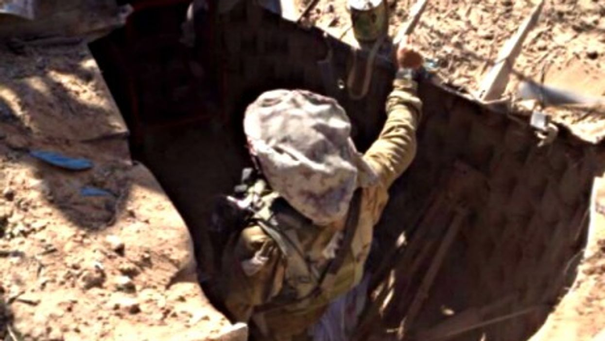 IDF soldier searching an underground tunnel in Gaza