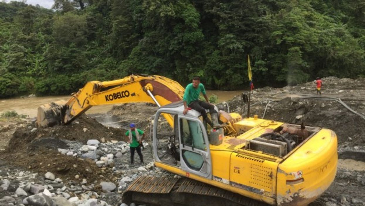 Illegal gold mine excavation in Colombia