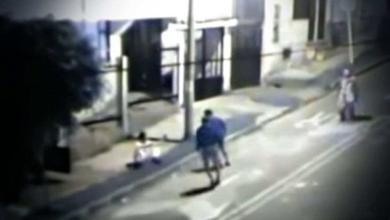 Image from a video of a 16-year-old suspected thief beaten to death in Bogota