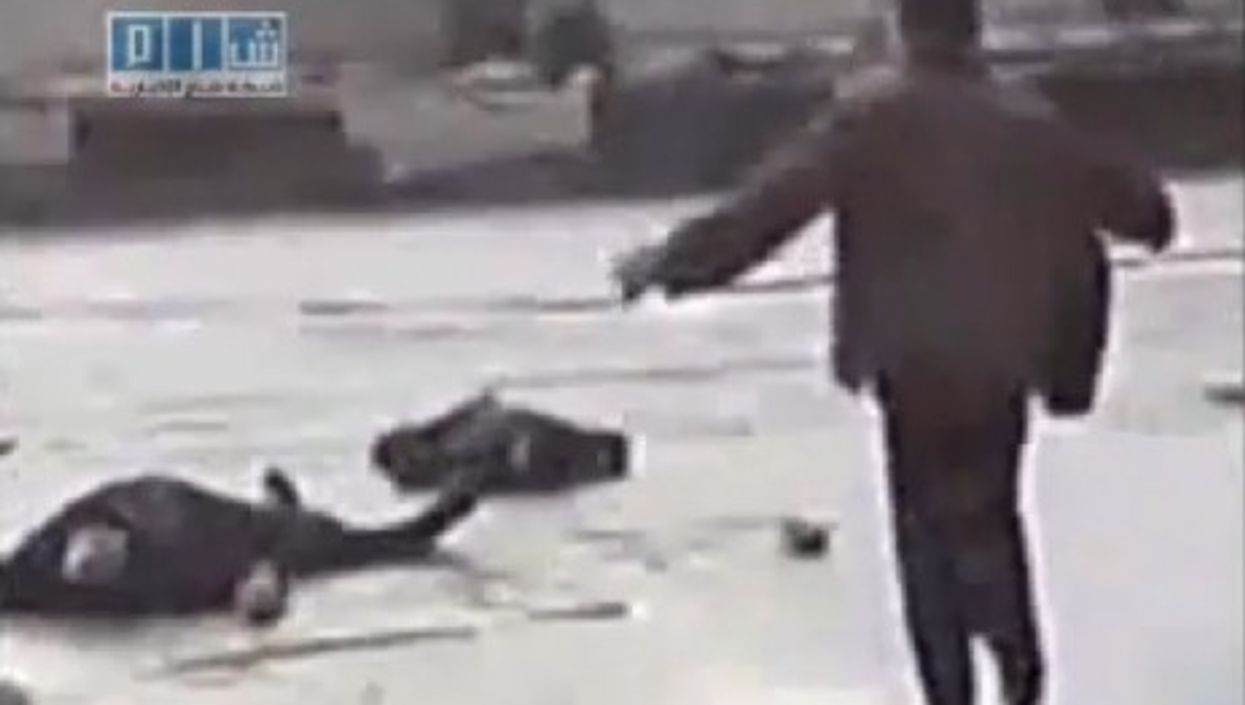 Image from Youtube video of a crackdown in Deraa.