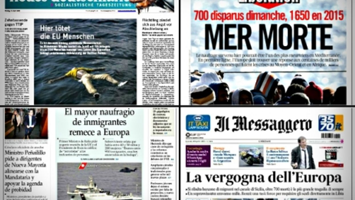 World Front Pages After Migrant Tragedy