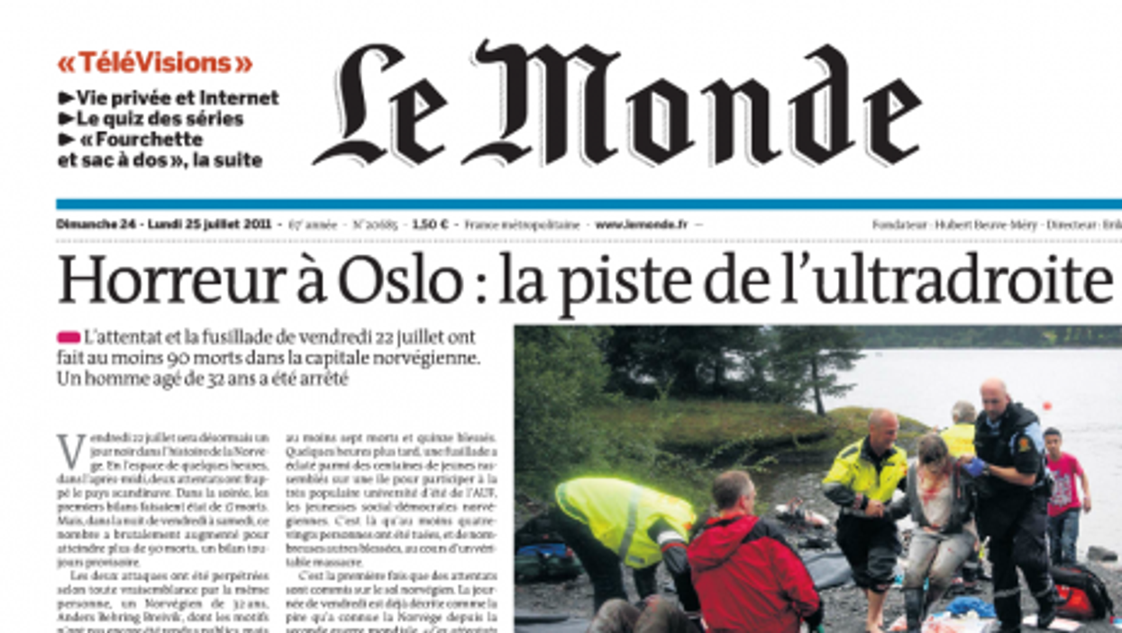 Terror In Norway: Page One - World Newspapers