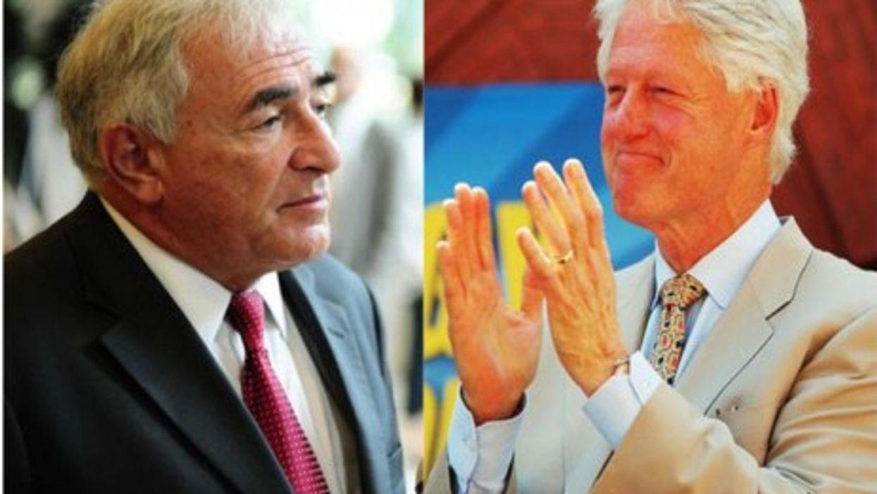 IMF head Dominique Strauss-Kahn and former U.S. President Bill Clinton
