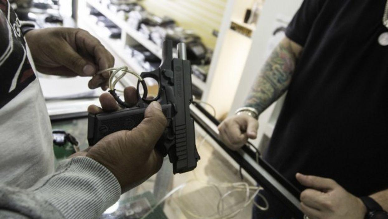 In a gun shop in Sao Paulo